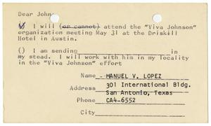 Primary view of object titled '[Postcard reply from Manuel V. Lopez to John J. Herrera - 1964-05-22]'.