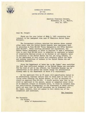 [Letter from Theo C. Adams to Jim Wright - 1965-07-12]