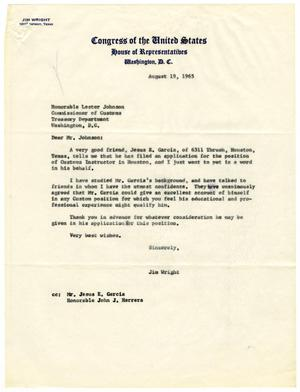 Primary view of object titled '[Letter from Jim Wright to Lester Johnson - 1965-08-19]'.
