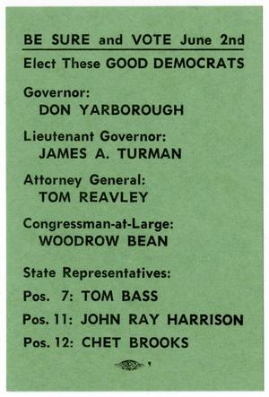 Democratic Party election reminder card - 1962