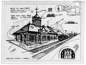 Primary view of object titled '[Sketch of Denton Depot]'.