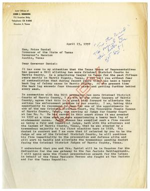 Primary view of object titled '[Letter from John J. Herrera to Price Daniel - 1959-04-13]'.