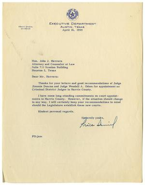 [Letter from Price Daniel to John J. Herrera - 1959-04-16]
