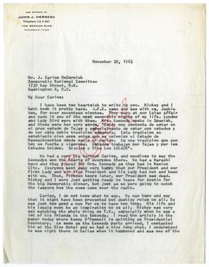 Primary view of object titled '[Letter from John J. Herrera to J. Carlos McCormick - 1963-11-29]'.