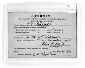 Primary view of object titled '[Cemetery permit for Dr. M. L. Holland]'.