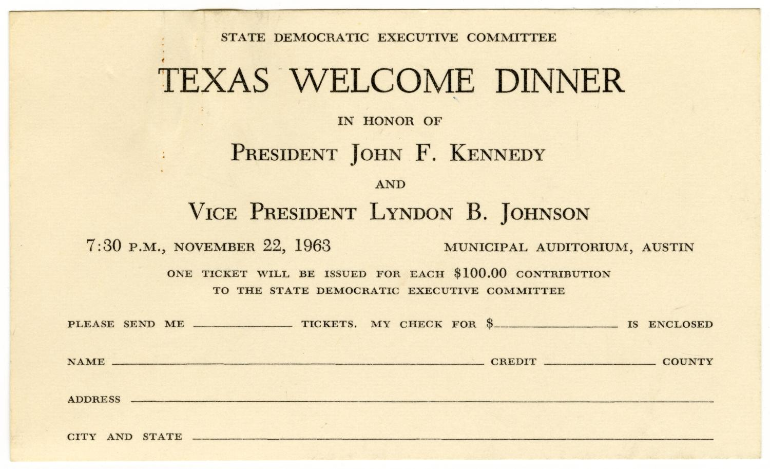 invitation card from the state democratic executive
