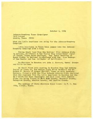Primary view of object titled '[Article for the Johnson/Humphrey Texas Campaigner - 1964-10-05]'.