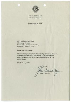 Primary view of object titled '[Letter from John B. Connally to John J. Herrera - 1967-09-06]'.