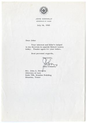 Primary view of object titled '[Letter from John B. Connally to John J. Herrera - 1965-07-14]'.
