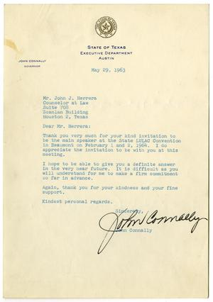 Primary view of object titled '[Letter from John B. Connally to John J. Herrera - 1963-05-29]'.