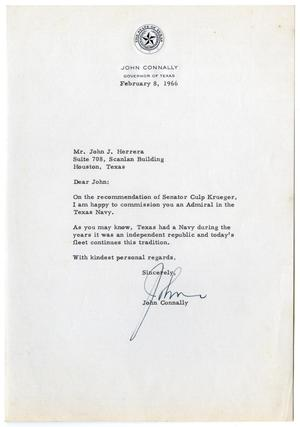 Primary view of object titled '[Letter from John B. Connally to John J. Herrera - 1966-02-08]'.