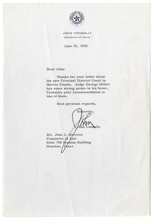 Primary view of object titled '[Letter from John B. Connally to John J. Herrera - 1965-06-15]'.