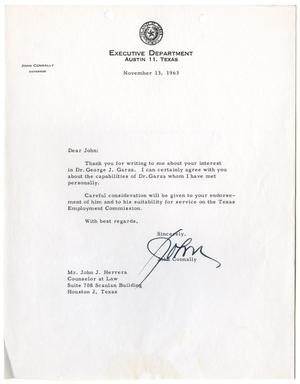 [Letter from John B. Connally to John J. Herrera - 1963-11-13]