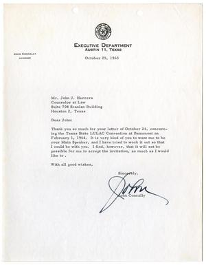 Primary view of object titled '[Letter from John B. Connally to John J. Herrera - 1963-10-25]'.