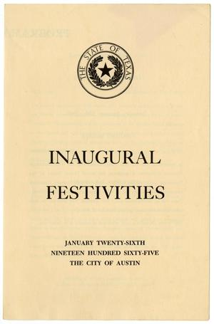 Primary view of object titled '[Program for Texas Inaugural Festivities, January 26, 1965]'.