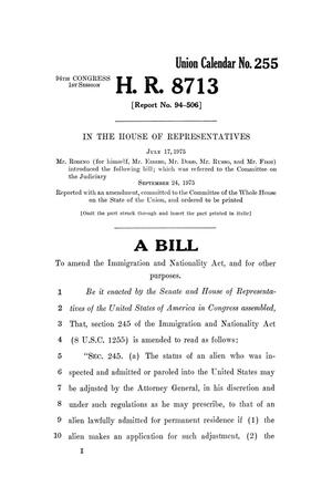 Primary view of object titled '[H.R. 8713, 94th Congress, 1st session - 1975]'.