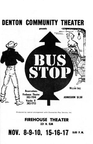 "Primary view of object titled '[Denton Community Theater presents ""Bus Stop""]'."