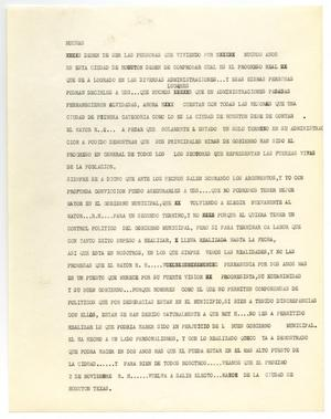 Primary view of object titled '[Campaign speech by John J. Herrera for Roy Hofheinz]'.