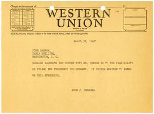 [Telegram from John J. Herrera to John H. Barron - 1947-03-31]