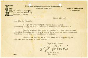 [Letter from T. J. Slowie to John J. Herrera - 1947-03-20]