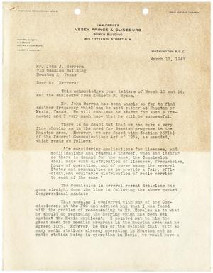 [Letter from D. F. Prince to John J. Herrera - 1947-03-17]