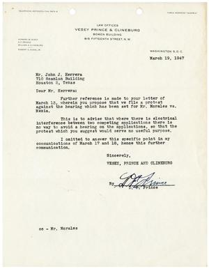 [Letter from D. F. Prince to John J. Herrera - 1947-03-19]