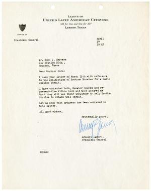 [Letter from Arnulfo Zamora to John J. Herrera - 1947-04-19]