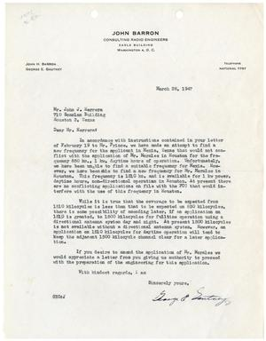 Primary view of object titled '[Letter from George E. Gautney to John J. Herrera - 1947-03-28]'.