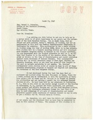 [Letter from John J. Herrera to Manuel Gonzales - 1947-03-13]