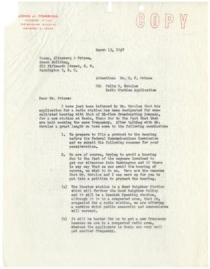 Primary view of object titled '[Letter from John J. Herrera to D. F. Prince - 1947-03-13]'.