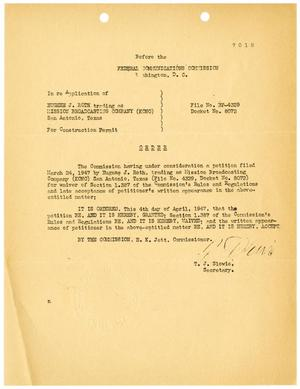 Primary view of object titled '[Federal Communications Commission Order for Construction Permit, Eugene J. Roth, April 4, 1947]'.