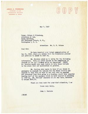 [Letter from John J. Herrera to D. F. Prince - 1947-05-09]