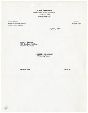 [Statement of Account for John J. Herrera from John Barron Consulting Radio Engineers - July 1, 1947]
