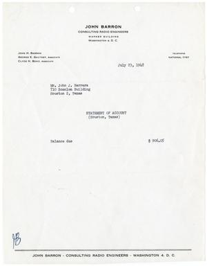 Primary view of [Statement of Account for John J. Herrera from John Barron Consulting Radio Engineers - July 23, 1948]