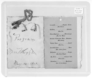 Primary view of object titled '[Ariel Club program for Miss Wright]'.