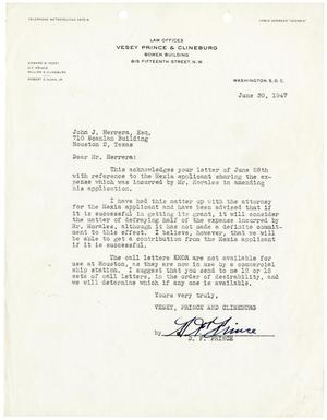 [Letter from D. F. Prince to John J. Herrera - 1947-06-30]