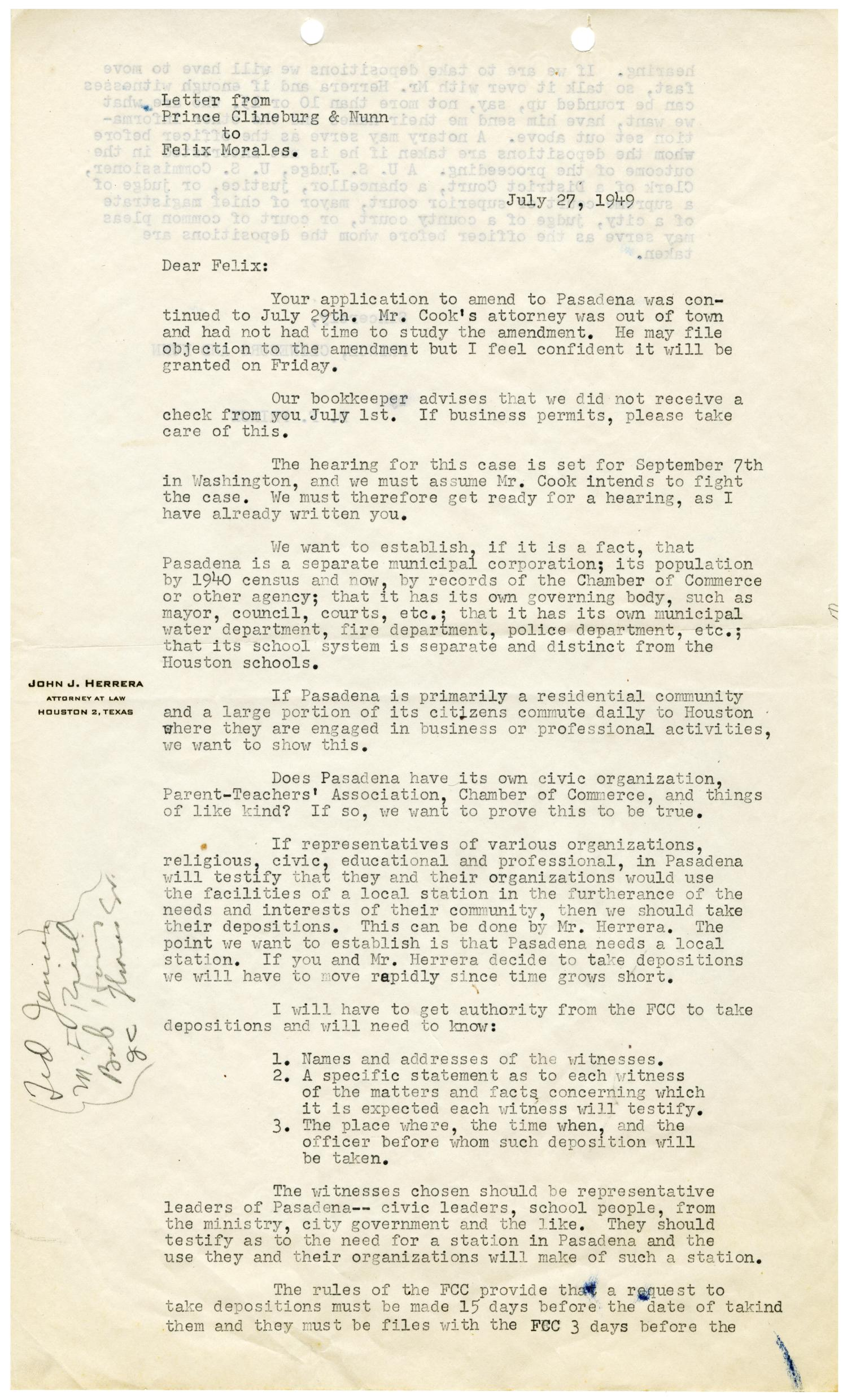 Letter from Prince Clineburg & Nunn to Felix H Morales 1949 07 27