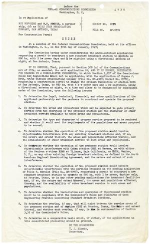 Primary view of object titled '[Federal Communications Commission Order for Construction Permit Hearing, Roy Hoefheinz and W. H. Hooper, January 30, 1947]'.