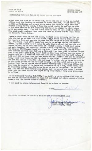 Primary view of object titled '[Affidavit from Ernest Rosales, page one - 1957-11-06]'.