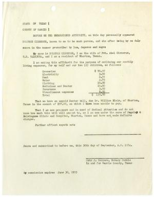 Primary view of object titled '[Affidavit from Dolores L. Cisneros - 1954-09-30]'.