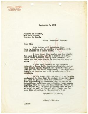 Primary view of object titled '[Letter to Joske's of Houston from John J. Herrera - 1948-09-03]'.