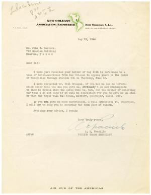 Primary view of object titled '[Letter from A. E. Pradillo to John J. Herrera - 1946-05-13]'.
