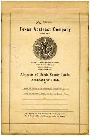 "Primary view of object titled 'Abstract of Title to Part of Block 4 of ""Westview Addition"" to the City of Houston, SSBB, in Harris County, Texas'."