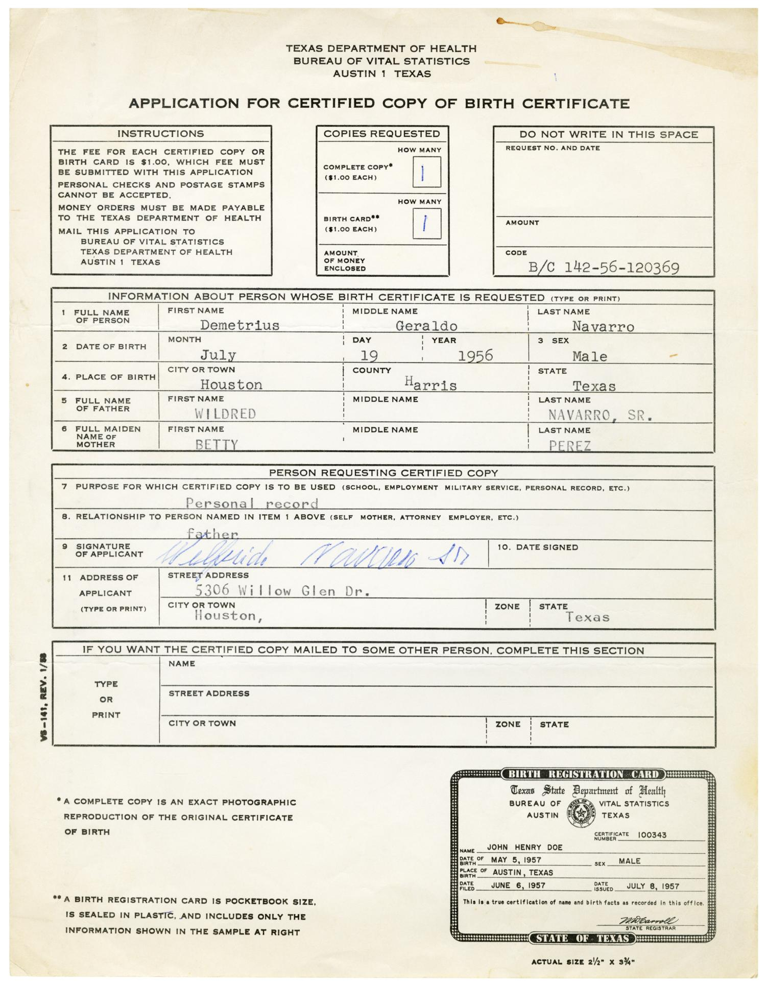 Application for certified copy of birth certificate for demetrius application for certified copy of birth certificate for demetrius navarro the portal to texas history aiddatafo Images