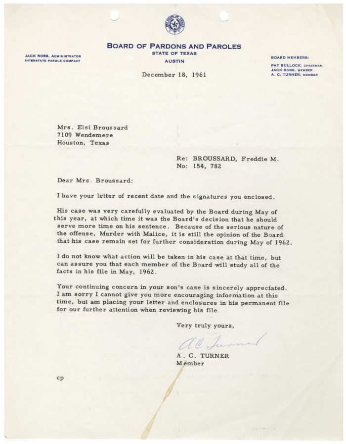 primary view of object titled letter from a c turner to elsi broussard 1961
