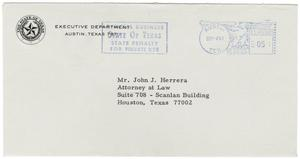 Primary view of object titled '[Envelope addressed to John J. Herrera - 1967-09-08]'.