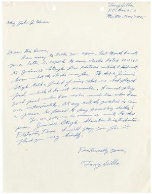 Primary view of object titled '[Letter from Tony Silba to John J. Herrera - 1968]'.