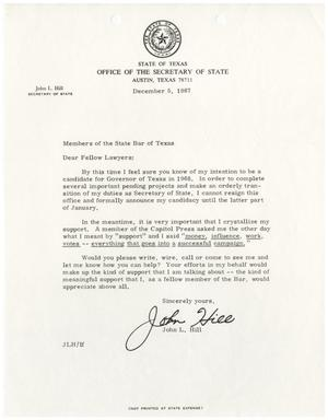 Primary view of object titled '[Letter from John L. Hill to the State Bar of Texas - 1967-12-05]'.