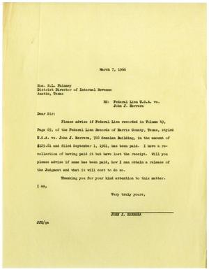 Primary view of object titled '[Letter from John J. Herrera to R. L. Phinney - 1966-03-07]'.