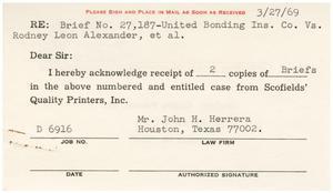 Primary view of object titled '[Acknowledgment of receipt of briefs by John J. Herrera - 1969-03-27]'.